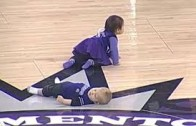Baby takes a nap during Sacramento Kings baby race