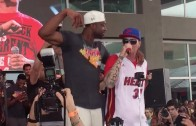 """Dwyane Wade dances with Vanilla Ice during """"Ice Ice Baby"""" performance"""