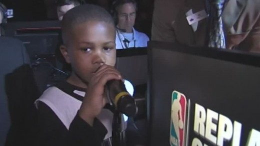 """""""LeBron James"""" kid does team introductions"""
