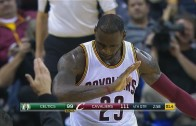 LeBron James hits the dab after the bucket