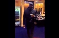 LeBron James mocks the media while eating a banana