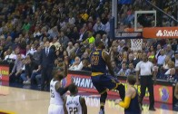 LeBron James throws down the electric reverse slam