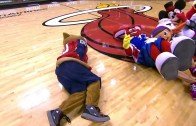 Miami Heat mascot fails flip onto mascots family jewels