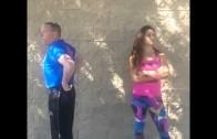 Miesha Tate parodies cop's butt stare