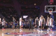 Reggie Jackson hits the bounce trick shot