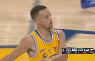 Stephen Curry throws down the fast break slam