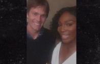 Serena Williams has a fan girl moment when meeting Tom Brady