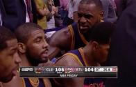 LeBron James yells at Kyrie Irving on the bench