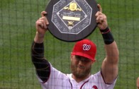Bryce Harper receives his MVP & Silver Slugger trophies