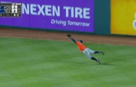 George Springer lays out to rob Prince Fielder of extra bases