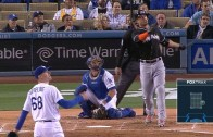 Giancarlo Stanton belts a solo homer in Dodger stadium