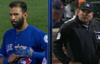 Jose Bautista has an intense stare down with an umpire