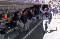 Juan Uribe breaks off some dance moves in the dugout