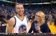 Stephen Curry post game interview after winning 73rd game