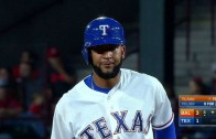 Nomar Mazara's family celebrates his first career double in the show
