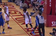 Steph Curry accidentally punches ref in the face after layup
