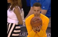 Stephen Curry football & baseball throws basketball in pre-game