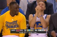 Stephen Curry laughs on the bench while Warriors destroy the Rockets