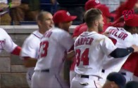 "Bryce Harper tells umpire ""fuck you"" during walk off home run"