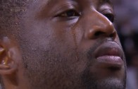 Dwyane Wade in tears during national anthem before Game 7 tip