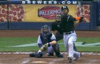 Giancarlo Stanton's homer hits the Brewers center field scoreboard