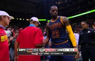 LeBron James crashes into a fan after being shoved