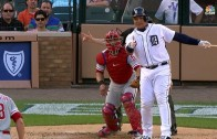 Miguel Cabrera gives a thumbs up to Jeremy Hellickson after striking out