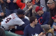 Miguel Cabrera hilariously hugs a Cleveland Indians fan