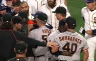 Madison Bumgarner stares down Wil Myers causing the benches to clear