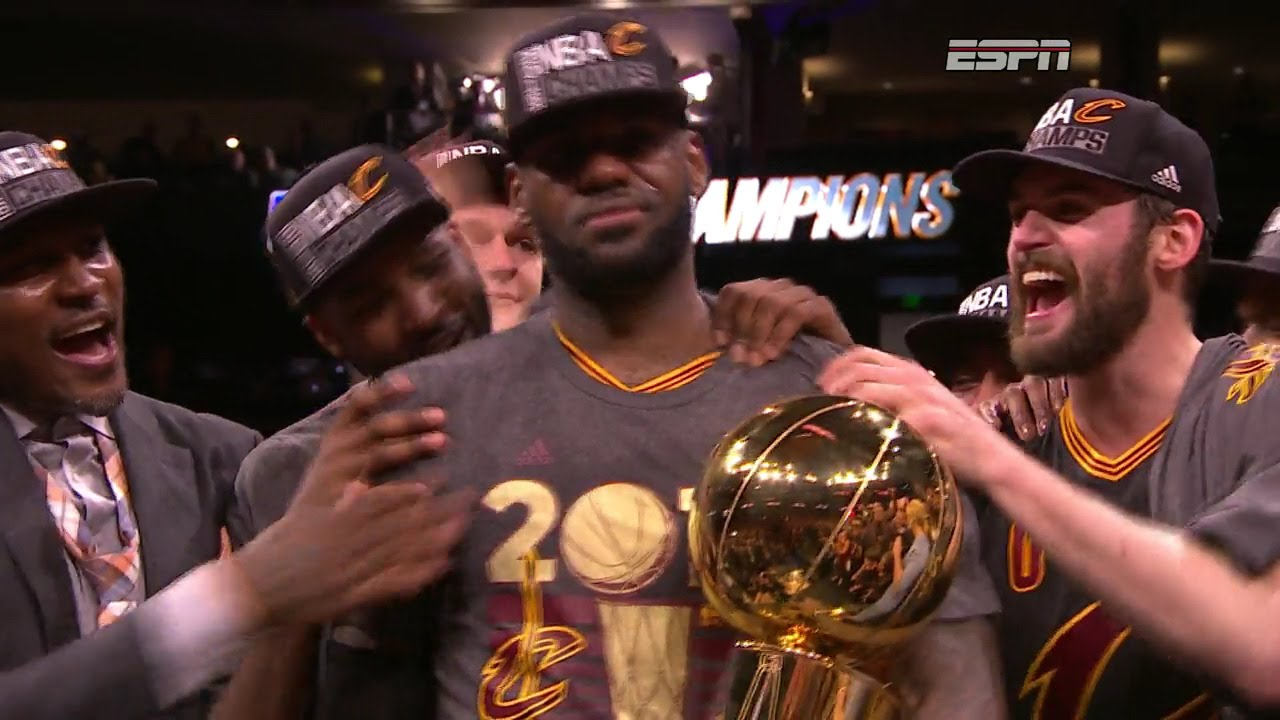 fe2ef5264dc49 Cleveland Cavaliers 2016 NBA Championship Trophy Ceremony