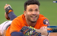 Jose Altuve misses the Cycle by tripping on his helmet