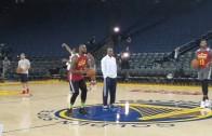 LeBron James casually sinks a half court shot
