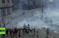 Riot police & England fans clash ahead of Russia match