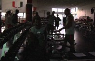 Univeristy of Miami football works out with Live DJ & Strobe Lights at 5:30am