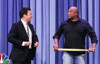 Bernie Williams plays wiffleball with Jimmy Fallon