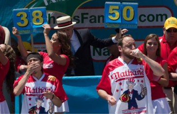 Joey Chestnut eats 70 hot dogs at the 2016 Nathan's annual hot dog eating competition