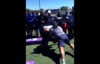 Marshawn Lynch goes Beast Mode in blocking drill