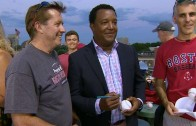 Pedro Martinez signs autographs for Red Sox fans at Fenway