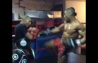 Simon Marcus vicious kicks in Kick Boxing training