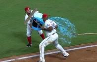 Adrian Beltre expertly dodges Gatorade shower by broom