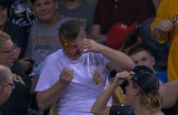 Foul ball causes Pirates fan to spill nachos all over his face