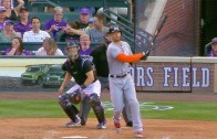 Giancarlo Stanton launches 504 foot home run at Coors Field
