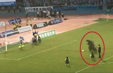 Godzilla attempts a penalty kick in Japan