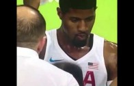 Paul George forgot that there is no waterboy for team USA