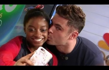 Simone Biles get a kiss from celebrity crush Zac Efron