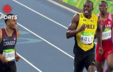 Usain Bolt & Andre De Grasse go toe to toe in 200M Semifinal