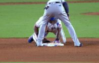 """Adrian Beltre plays """"patty cake"""" after sliding safely into 2nd base"""