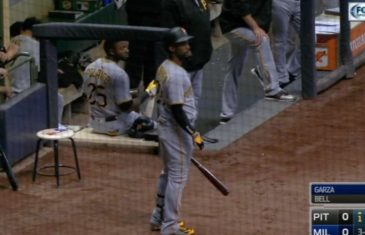 Andrew McCutchen sits in dugout after almost being killed by foul ball
