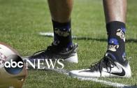 """Colin Kaepernick responds to """"pig"""" cartoon socks"""