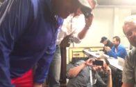 Rex Ryan poses as a reporter on a media call with Julian Edelman